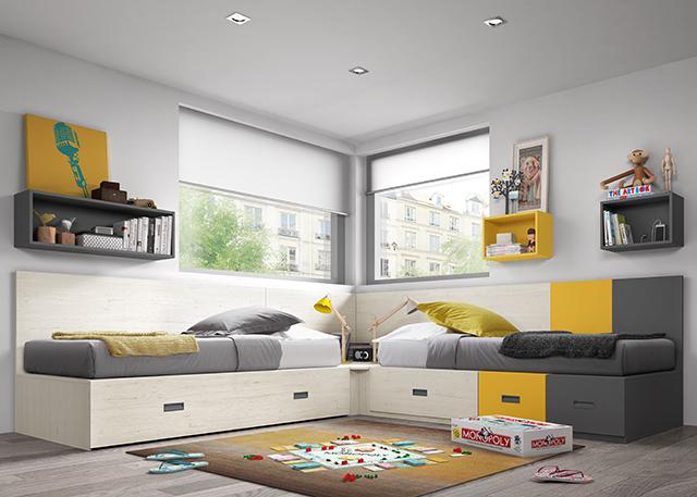 Habitación juvenil con 2 camas individuales