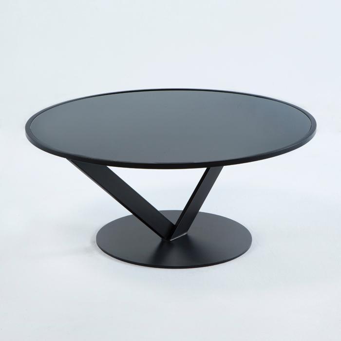 Mesa de centro circular con cristal negro
