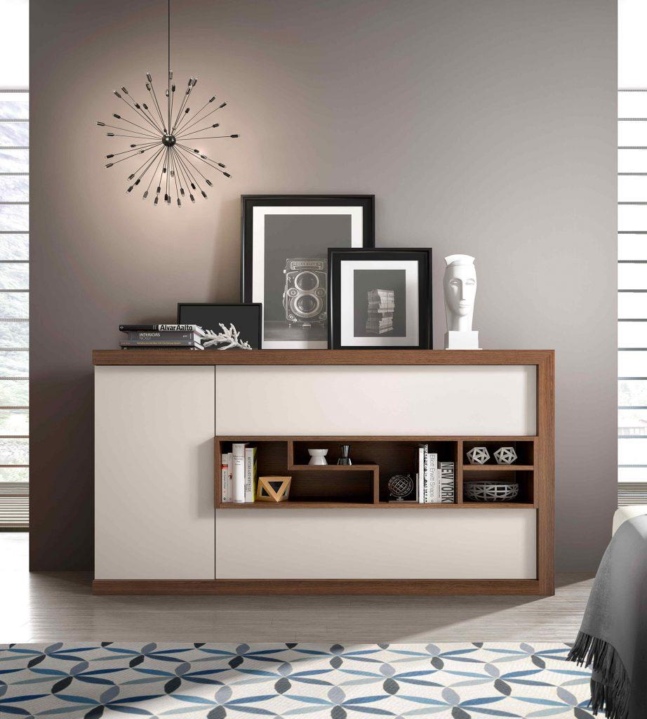 Aparador moderno blanco con marco de madera natural