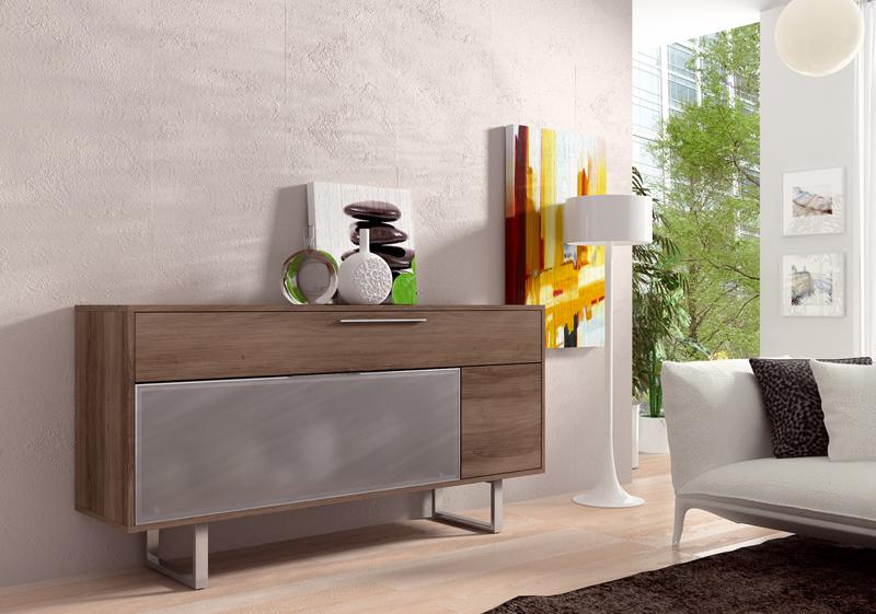 Aparador moderno en madera natural con puerta traslúcida de cristal