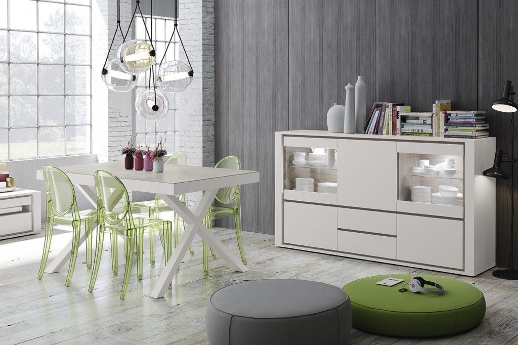 Aparador moderno con vitrinas superiores en conjunto con mesa blanca de comedor
