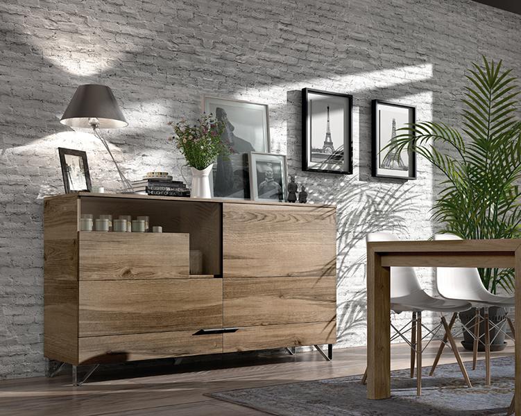 Aparador moderno en madera natural al través