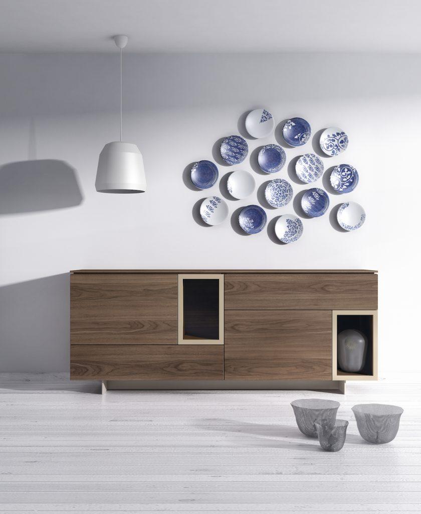 Aparador de diseño con huecos lacados en contraste con madera