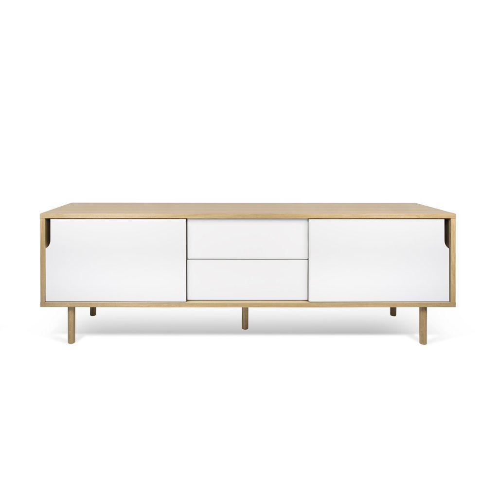 Aparador o mueble de tv blanco con estructura de madera