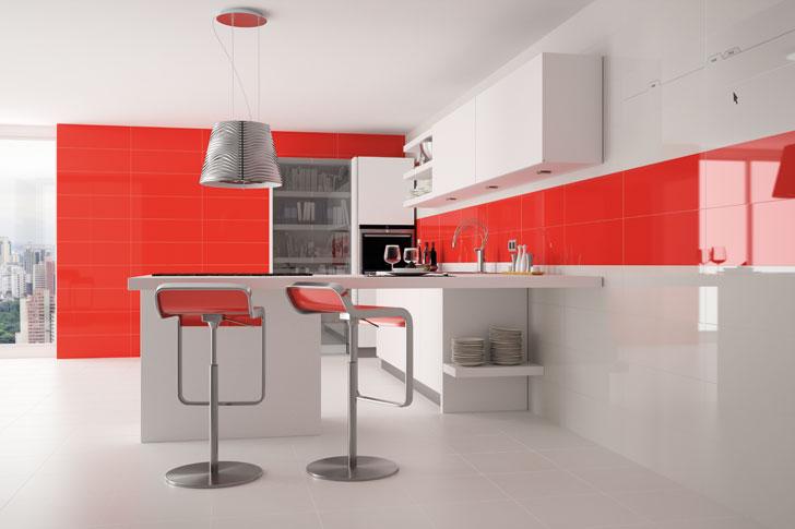 Cocina diseño lacada rojo y blanco