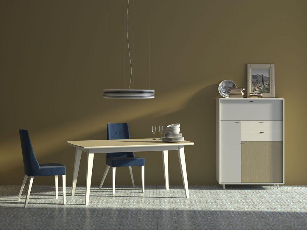 Aparador y mesa de comedor estilo nórdico