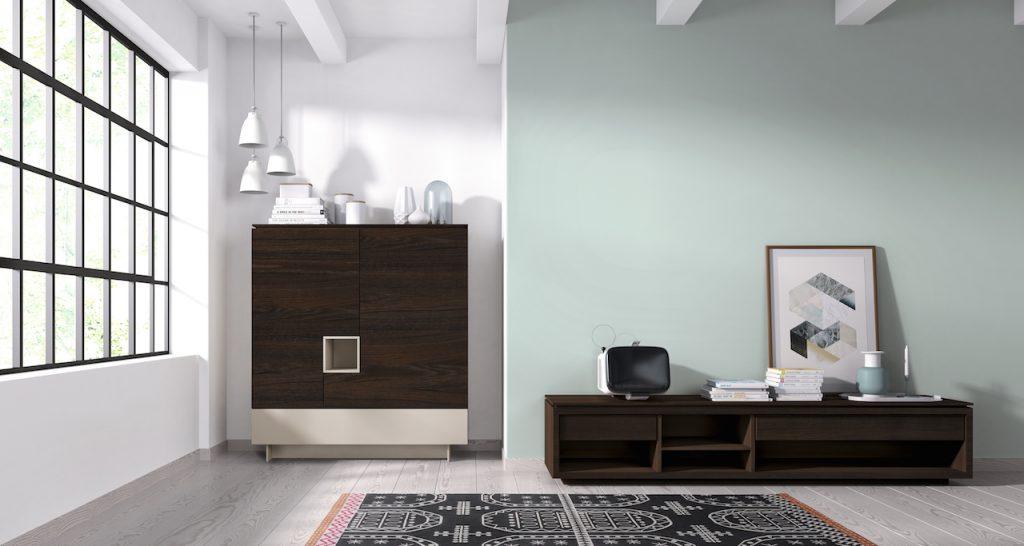 Aparador y mueble de tv en madera lacada