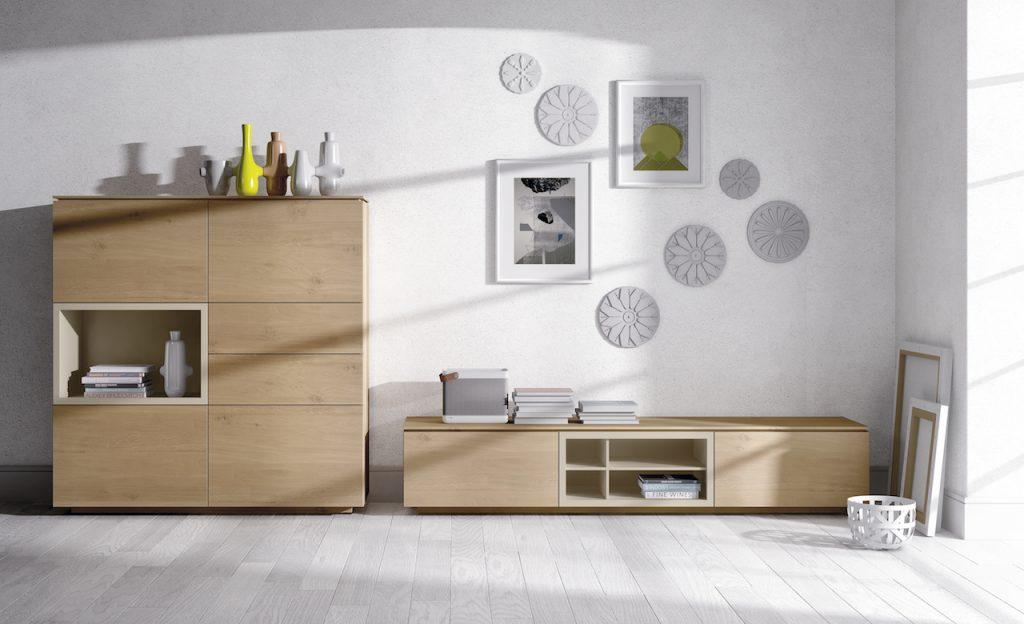 Kit mueble tv en madera con aparador estilo moderno