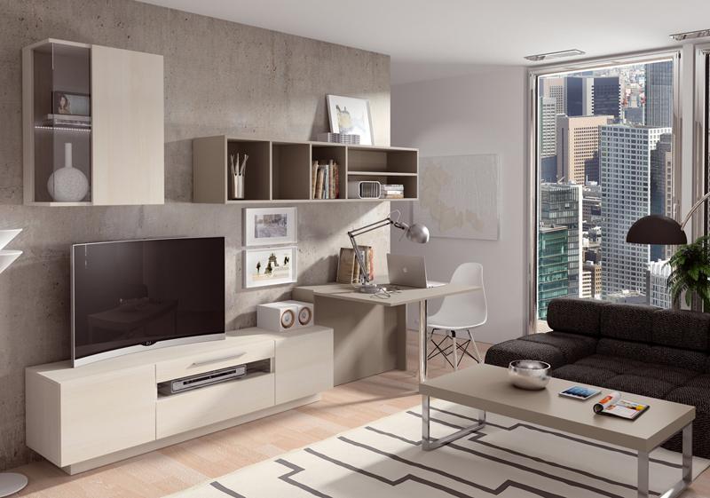 Mobiliario completo de salón con escritorio y mesa de centro