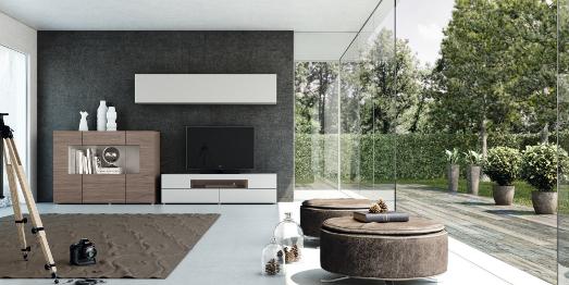 Muebles de diseño para el salón. Módulos en madera lacada
