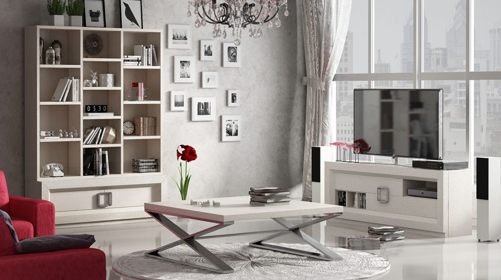 Mobiliario de salón con estantería, mueble de tv y mesa de centro de diseño