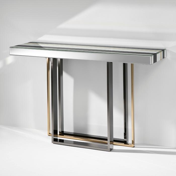 Consola moderna acabados cobre y acero