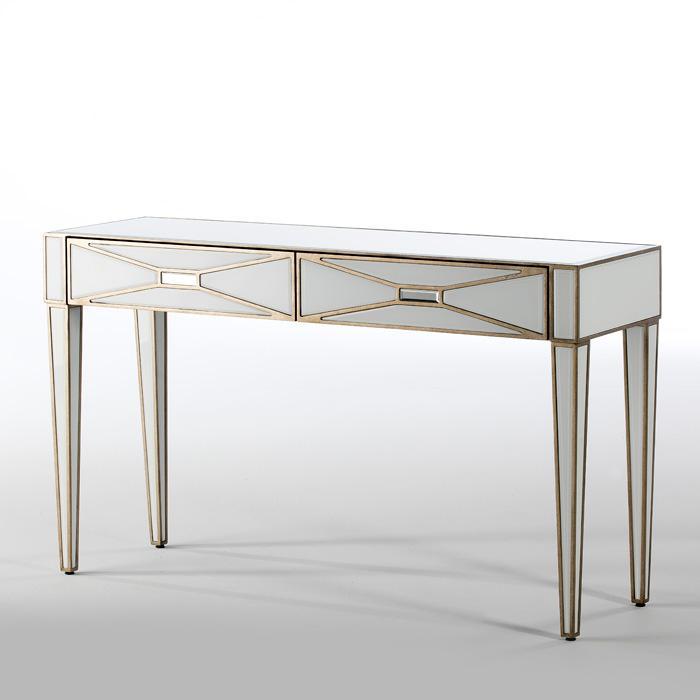 Consola neoclásica acabados oro y espejo