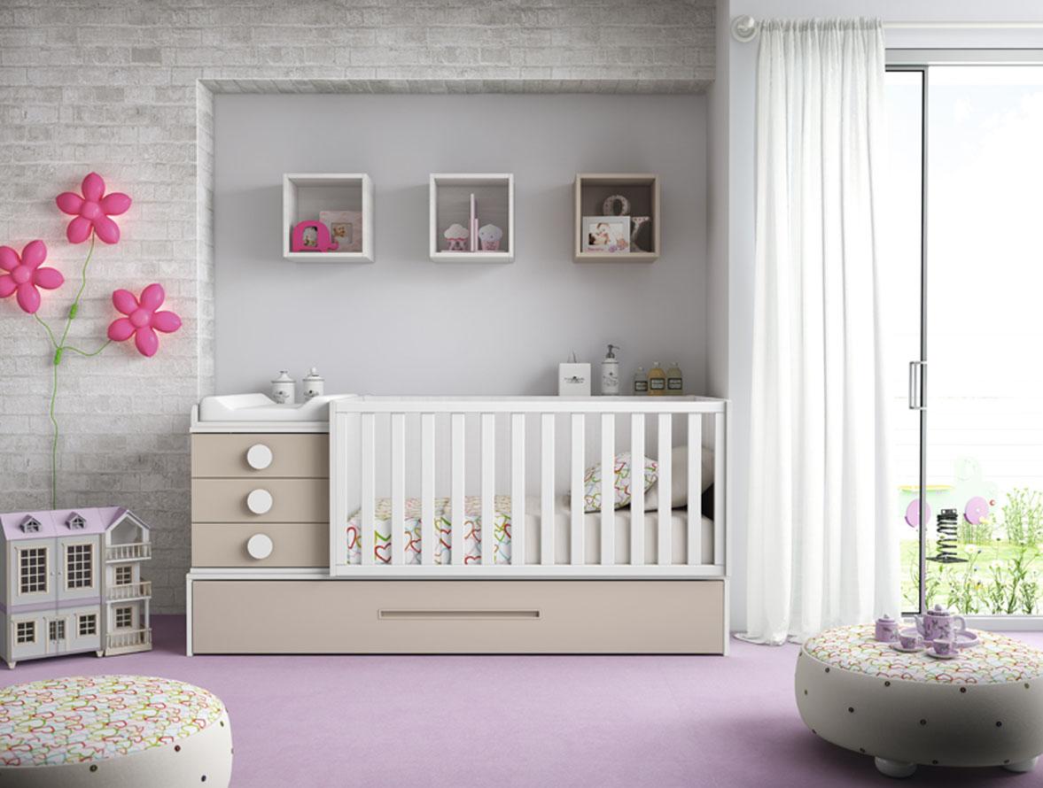 Habitación bebé con cuna convertible azul y blanco