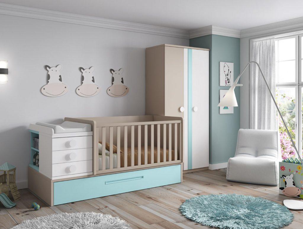Dormitorio bebé tonos crema y turquesa