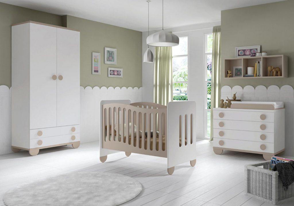 Dormitorio bebé blanco y crema lacado