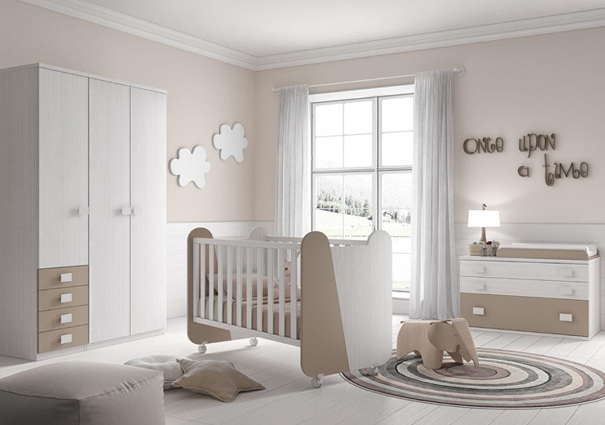 Cuna diseño madera blanco y beige