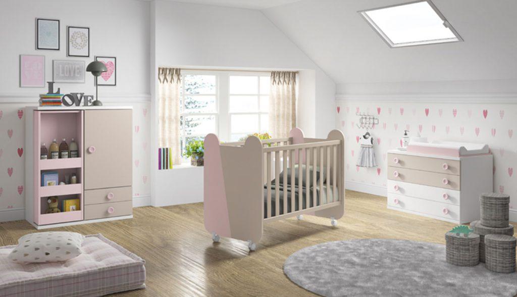 Dormitorio bebé rosa y crema