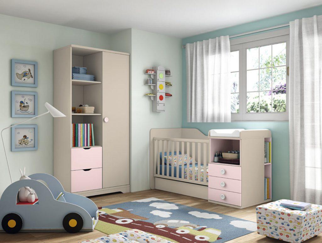 Dormitorio bebé rosa convertible con cambiador