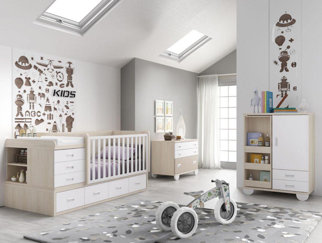 Habitación bebé blanco y beige convertible