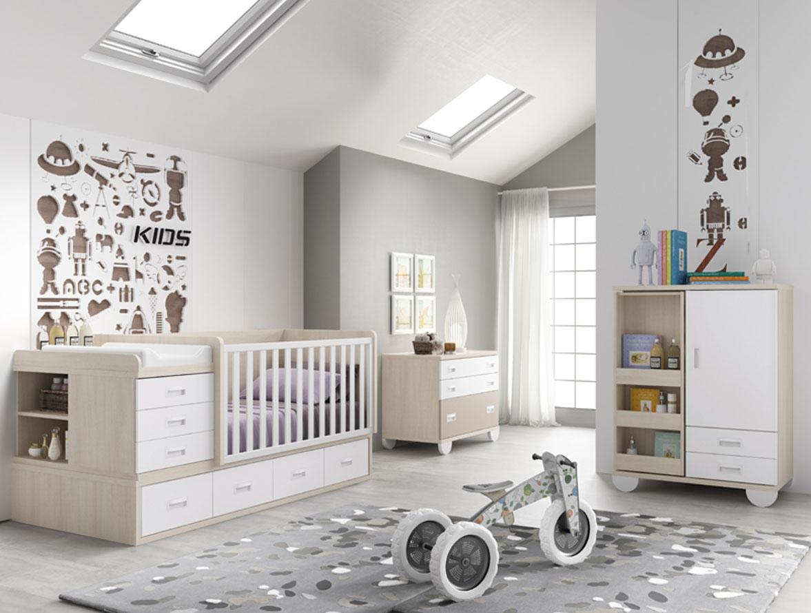 Habitación bebé blanco y beige con cambiador y cuna convertible