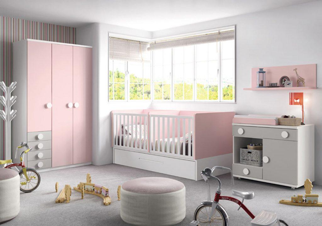 Cuna bebé convertible rosa
