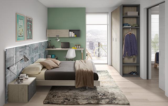 Habitación juvenil cabecero retro 1 cama