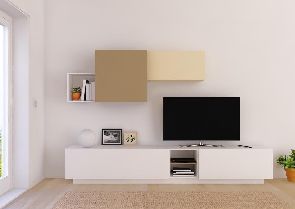 Muebles salón con módulos asimétricos