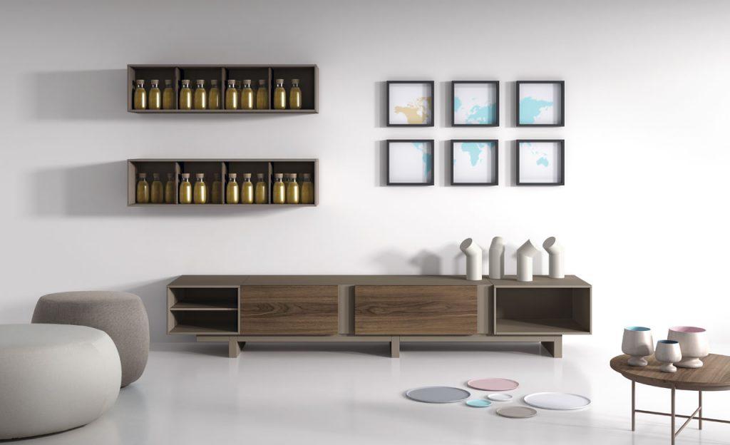 Salón modular de diseño en madera y lacado
