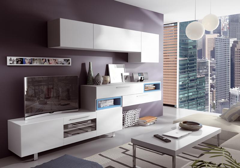 Mobiliario salón modular en blanco de diseño