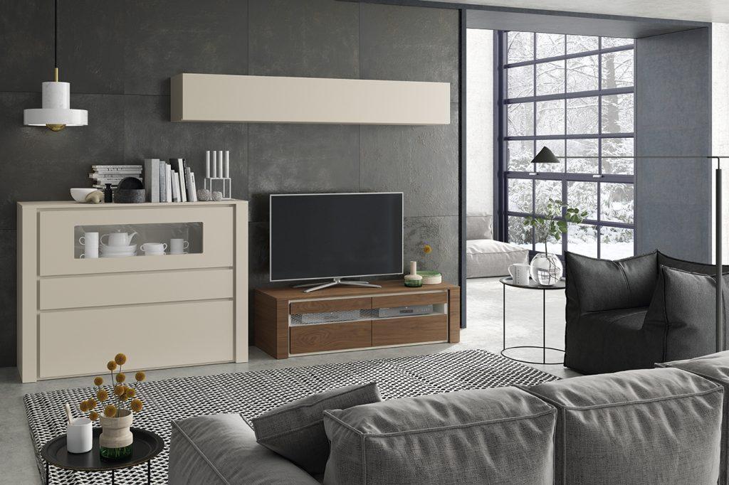 Muebles de salón con tv y aparador en madera y lacado