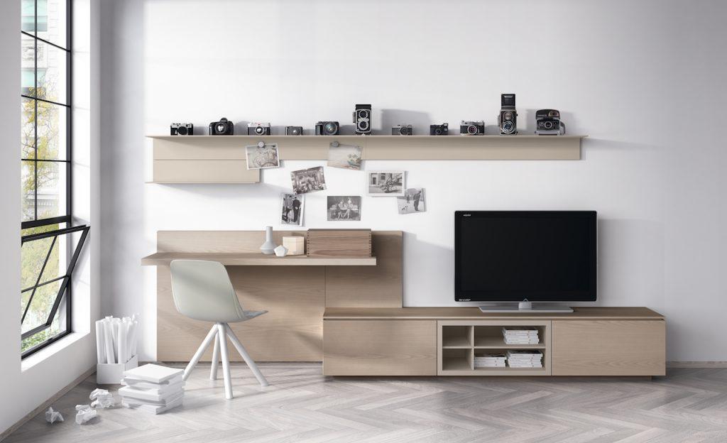 Mobiliario salón con leja a modo de escritorio en madera y lacado