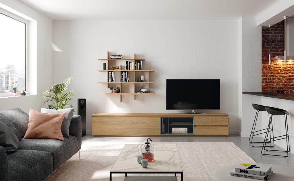 Mueble de salón en madera natural. Estilo moderno
