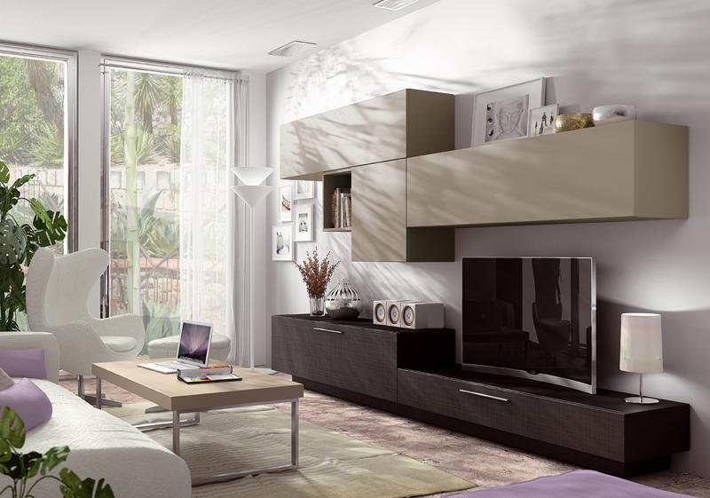 Mobiliario salón de diseño en madera y lacado