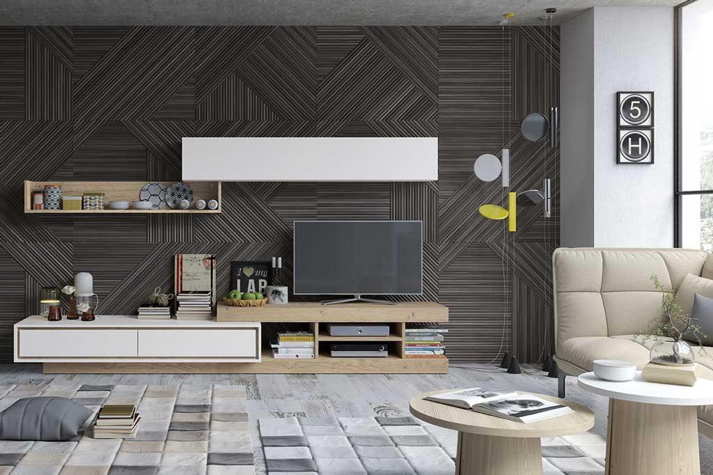 Mueble salón tv modular en madera y blanco