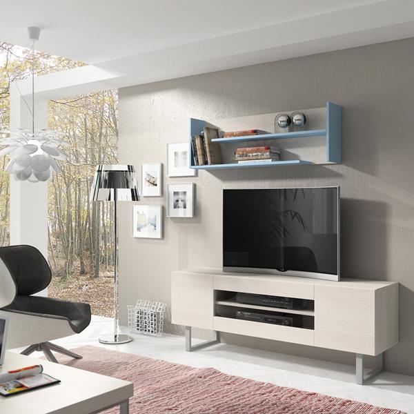 Módulo nórdico para tv con lejas superiores