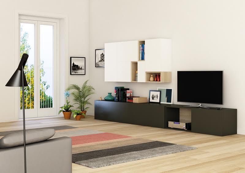 Salón modular lacado en blanco y negro