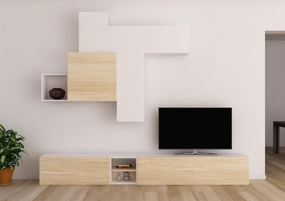 Salón de diseño con módulos modernos