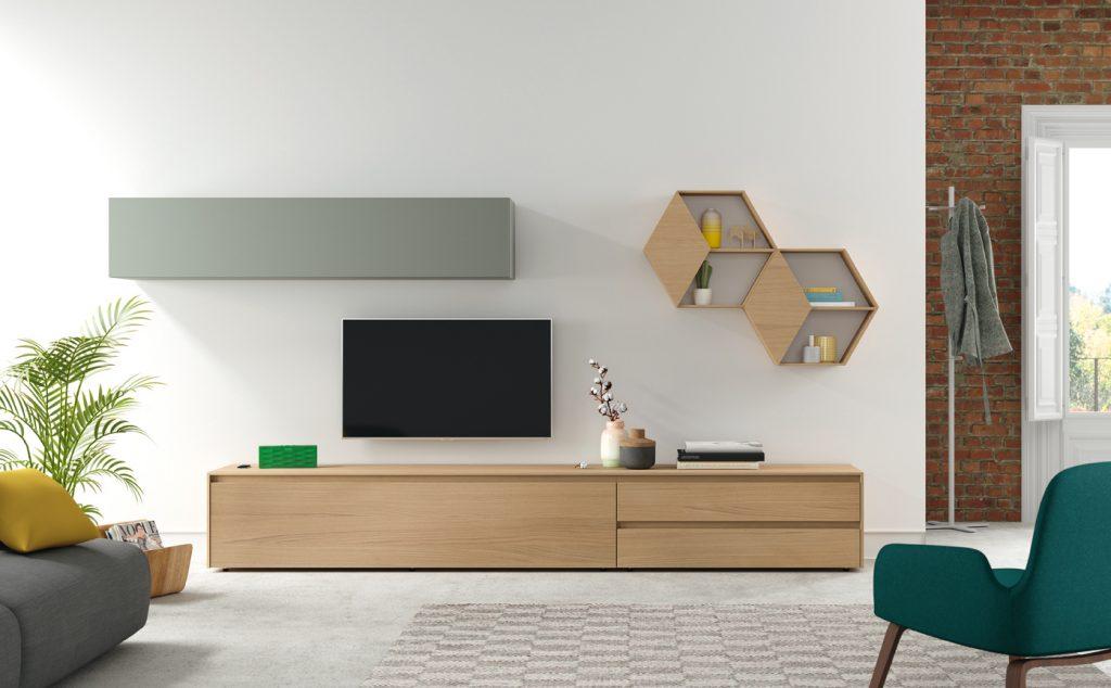 Mobiliario modular para el salón en madera nórdico