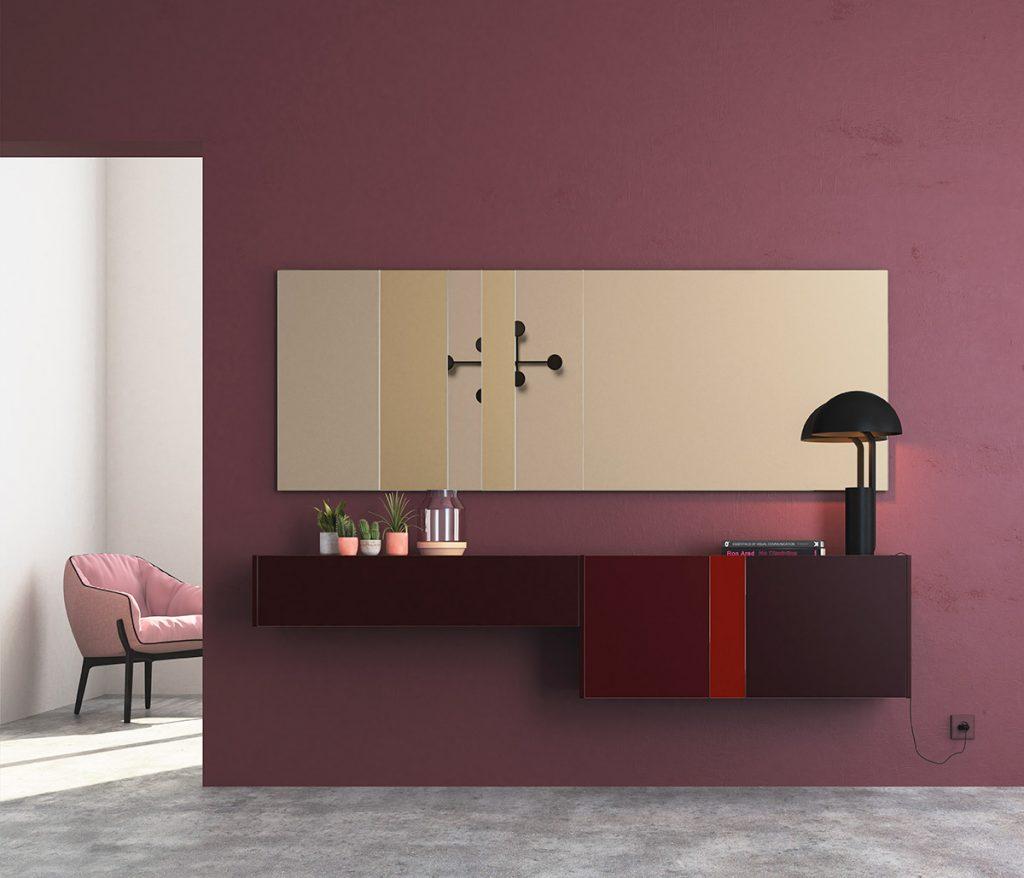 Recibidor de diseño con espejo panorámico