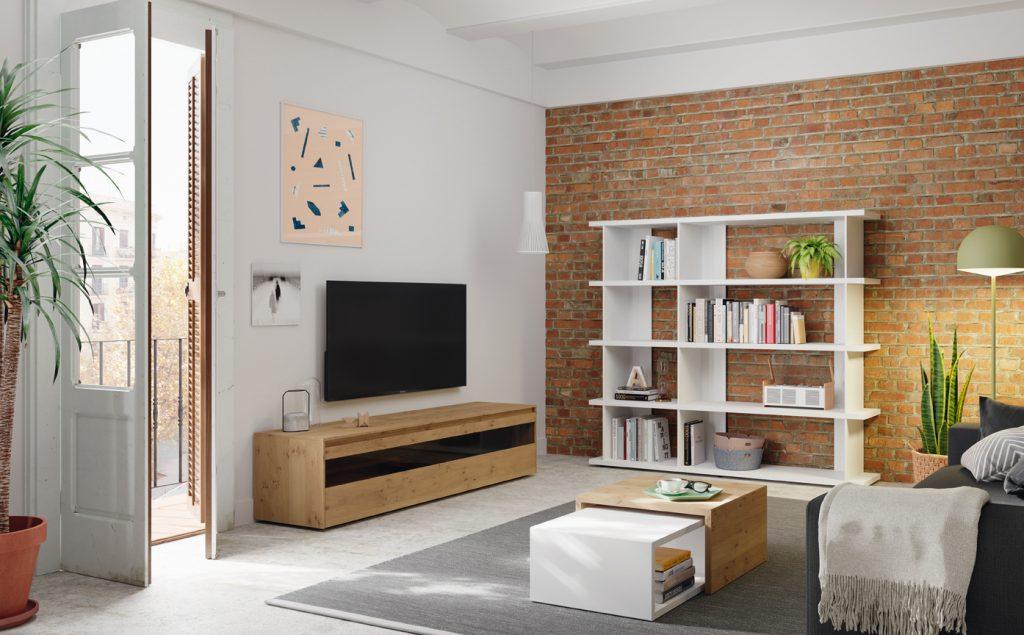Salón moderno en madera y lacado blanco