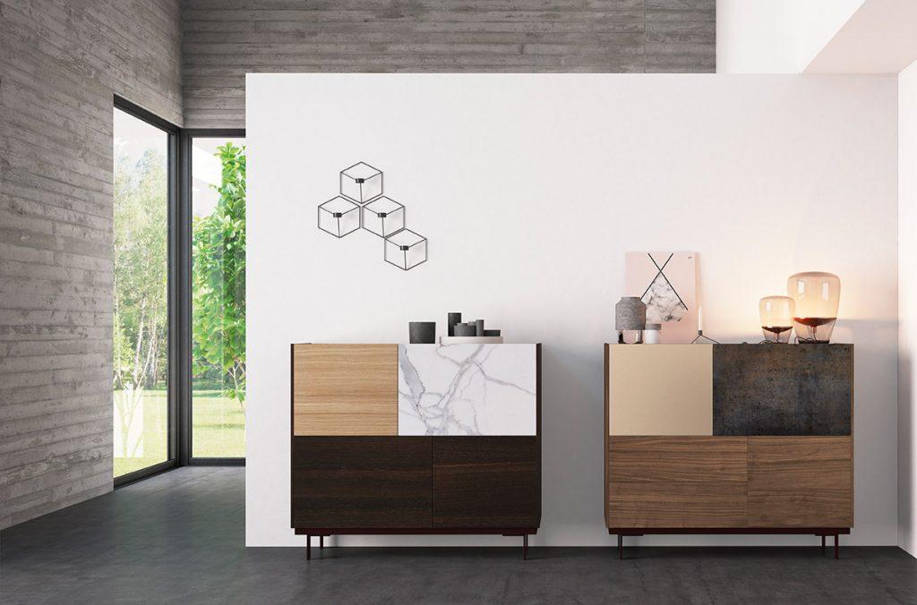 Vajillero diseño puertas porcelánico, laca y madera