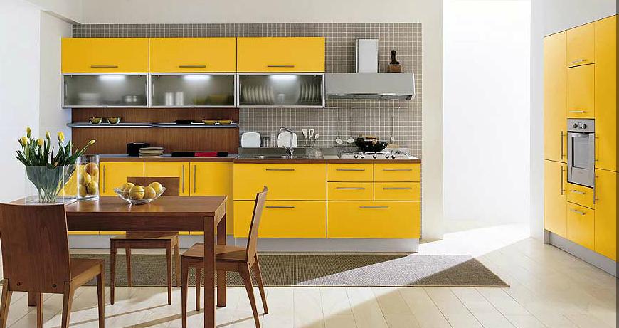 Cocina amarilla de diseño