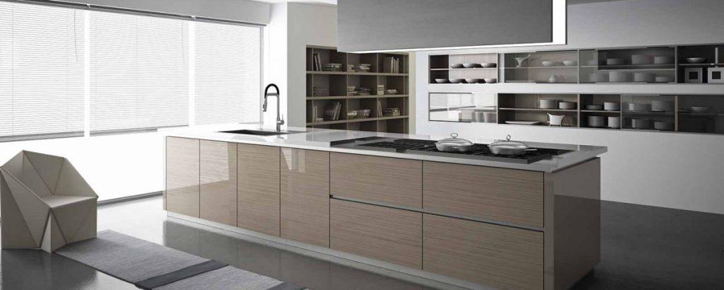 Isla de cocina laminada efecto madera