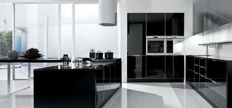 Cocina laca brillo en negro
