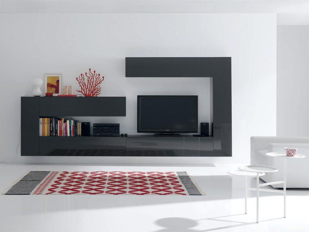 Salón negro de diseño con formas geométricas