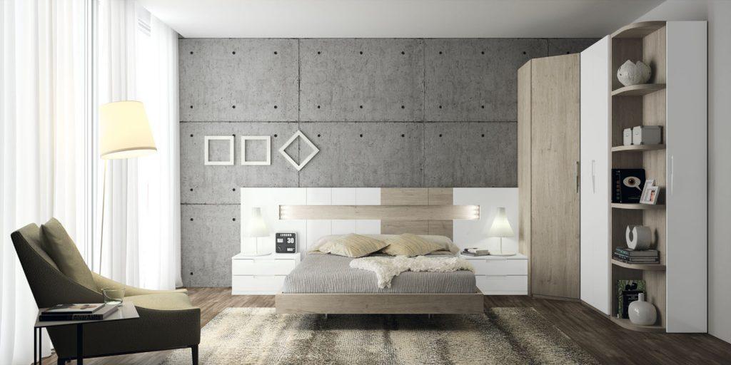 Cabecero de diseño para habitación de matrimonio combinado en madera y lacado
