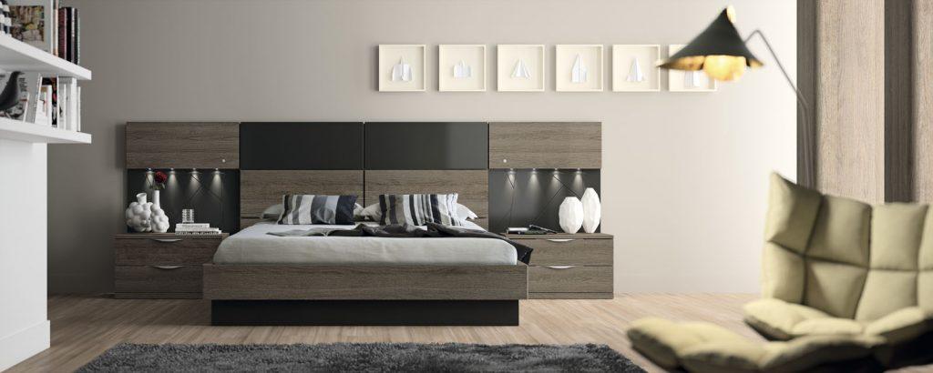 Dormitorio con cabecero multifuncional
