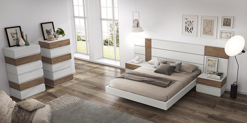 Habitación matrimonio de diseño con acabados en blanco lacado
