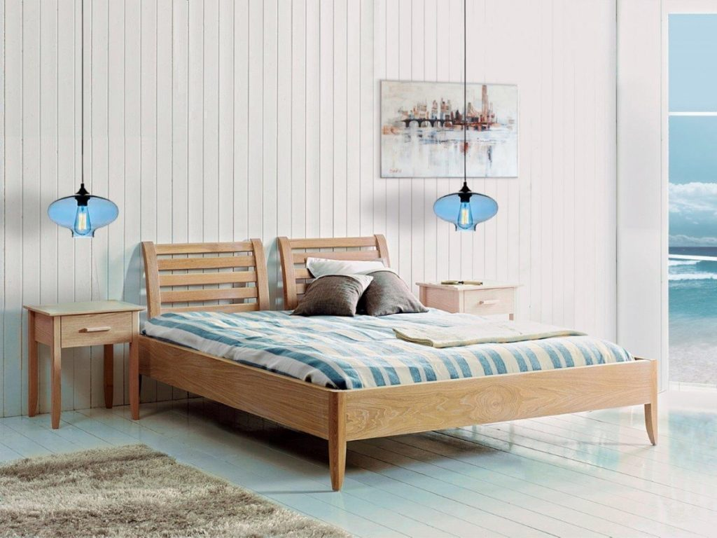 Dormitorio mediterráneo de madera natural